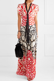 Temperley London Blaze open-back printed silk gown