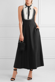 Temperley London Fountain lace-trimmed cotton-poplin midi dress