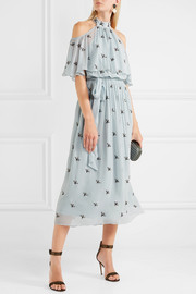 Temperley London Starling cold-shoulder embellished chiffon midi dress