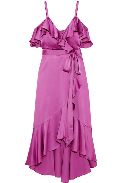 Temperley London - Carnation Cold-shoulder Ruffled Satin Midi Dress - Magenta