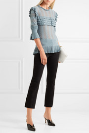 Temperley London Cypre ruffled pointelle-knit sweater