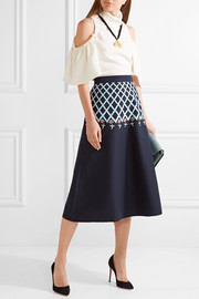 Temperley London Poppy Field embroidered cotton-poplin midi skirt
