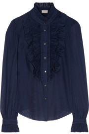 Temperley London Strawberry ruffled cotton and silk-blend blouse