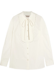 Temperley London Fountain lace-trimmed pintucked cotton-poplin blouse
