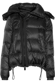 Hooded shearling-trimmed quilted shell down coat