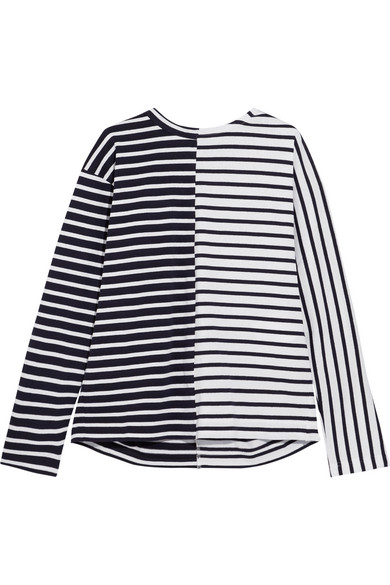 Sacai - Dixie Lace-up Striped Cotton-jersey Top - Navy