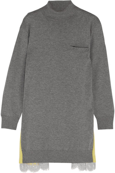 Sacai - Oversized Lace-trimmed Wool And Cotton-blend Turtleneck Sweater - Light gray