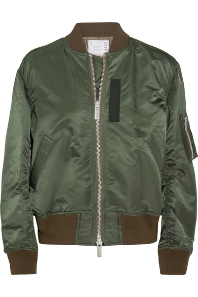 Sacai - Ribbed Jersey-trimmed Shell Bomber Jacket - Army green
