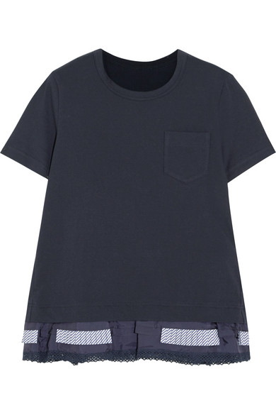 Sacai - Lace, Poplin And Shell-trimmed Cotton-jersey T-shirt - Navy