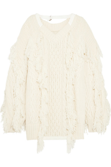 Sacai - Fringed Cable-knit Wool-blend Sweater - Off-white
