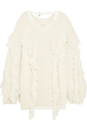 Sacai Fringed cable-knit wool-blend sweater