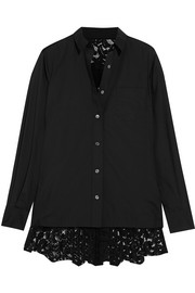 Poplin and pleated lace shirt