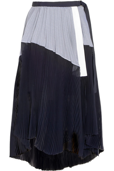 Sacai - Asymmetric Pleated Striped Cotton And Chiffon Wrap Skirt - Storm blue