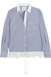 Lace-trimmed striped cotton-poplin shirt