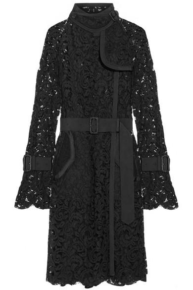Sacai - Grosgrain-trimmed Lace Coat - Black