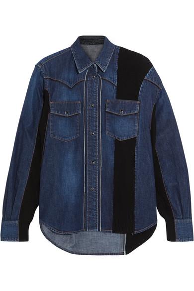 Sacai - Ribbed Knit-paneled Denim Shirt - Mid denim