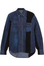 Ribbed knit-paneled denim shirt
