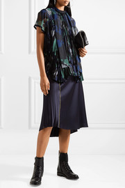 Velvet-trimmed pleated printed chiffon blouse