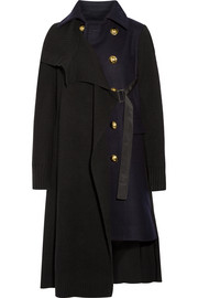 Paneled waffle-knit and Melton wool coat