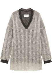 Maison Margiela Layered two-tone cable-knit sweater