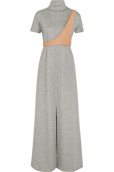 fbdfcf82273 Maison Margiela. Wool-blend jersey and leather-trim maxi dress