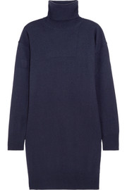 Suede-trimmed wool turtleneck sweater