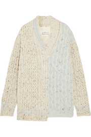 Maison Margiela Oversized patchwork wool and cotton-blend sweater