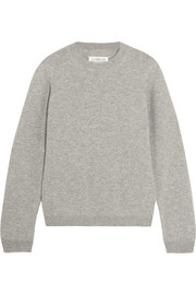 Suede-paneled wool sweater
