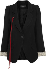 Lace and velvet-trimmed wool-blend gabardine blazer