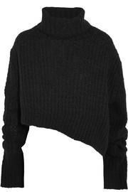 Asymmetric chunky-knit turtleneck sweater
