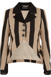Striped fleece wool-blend and canvas blazer