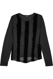 Ann Demeulemeester Striped devoré chiffon and cotton-blend jersey top