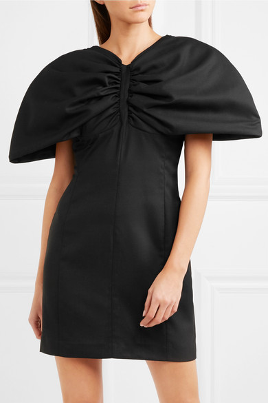 Vallauris gathered wool-piqué mini dress