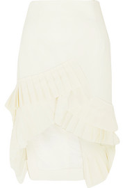Seville asymmetric pleated crepe skirt