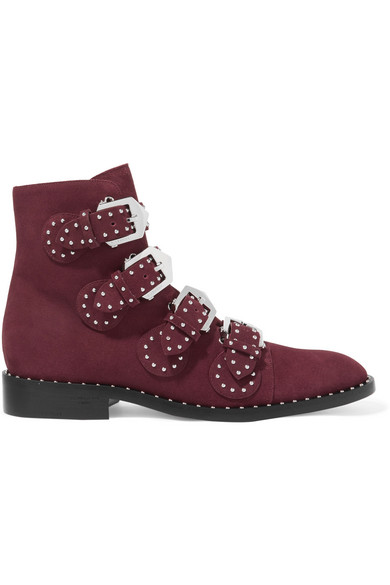 Popular Women Givenchy Studded suede ankle boots Burgundy