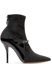 New Feminine patent-leather and stretch-suede sock boots