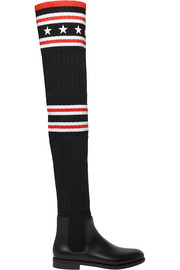 Givenchy Storm rubber and ribbed-knit thigh boots