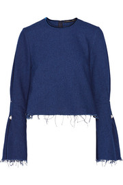 Mother of Pearl Monica embellished frayed denim blouse