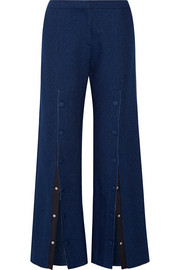 Elza button-embellished mid-rise wide-leg jeans