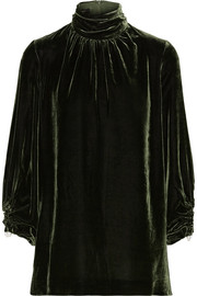 Mother of Pearl Wilma faux pearl-embellished velvet turtleneck top