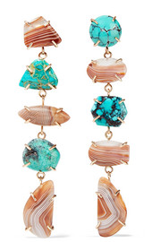 14-karat gold, agate and turquoise earrings