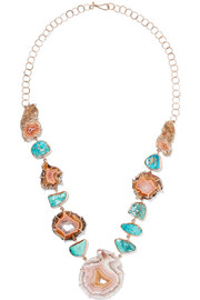 14-karat gold, agate and turquoise necklace