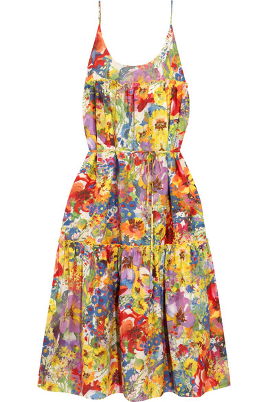 Stella McCartney - Ruffled Floral-print Cotton And Silk-blend Dress - Red