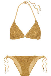 Stella McCartney Embellished crochet-knit bikini