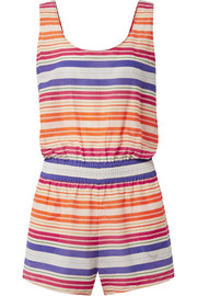 Striped cotton and silk-blend voile playsuit