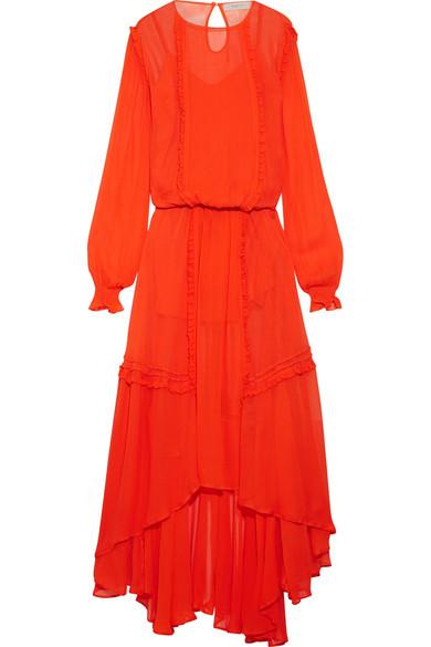 Preen Line - Martina Ruffled Chiffon Maxi Dress - Tomato red