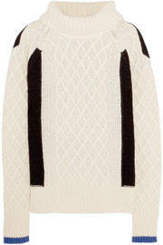 Preen Line Ellise color-block cable-knit wool-blend turtleneck sweater