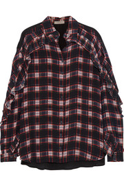 Lucie ruffled checked crepe de chine blouse