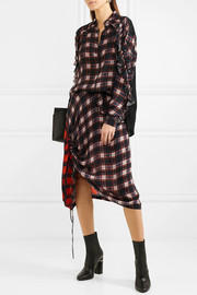 Preen Line Lucie ruffled checked crepe de chine blouse