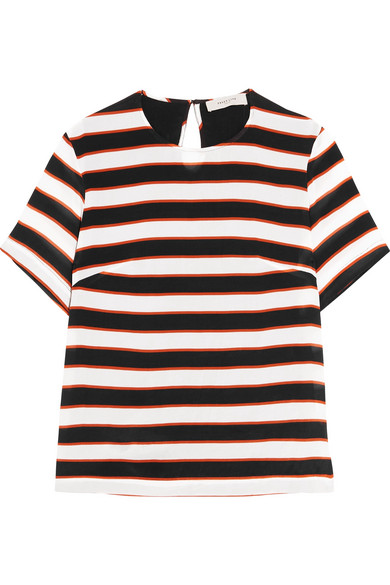 Preen Line - Isabelle Striped Crepe De Chine T-shirt - Black